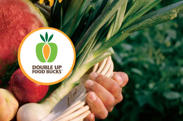double up food bucks logo is shown with locally grown fruits and vegetables